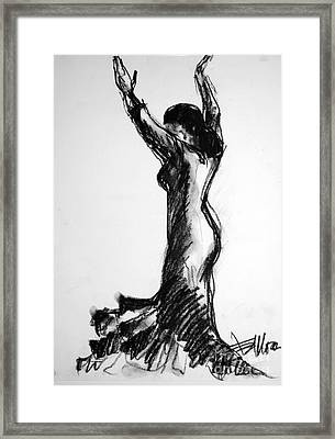 Flamenco Sketch 3 Framed Print by Mona Edulesco