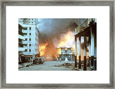 Flames Engulf Buildings In Panama City Framed Print by Everett