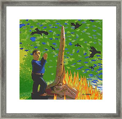 Flames From Driftwood Framed Print