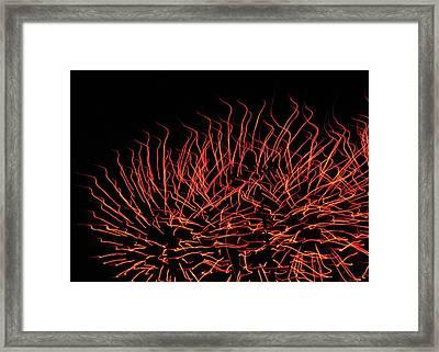 Flaming Fireworks Framed Print