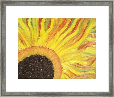 Framed Print featuring the painting Flaming Sunflower by Margaret Harmon