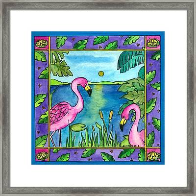 Flamingos Framed Print by Pamela  Corwin