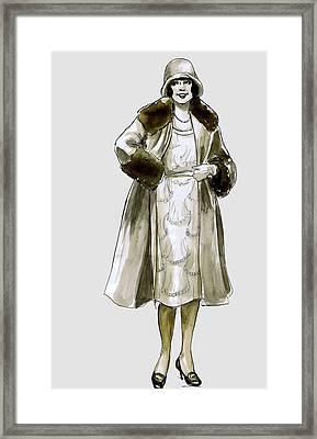 Flapper Fur Coat Framed Print
