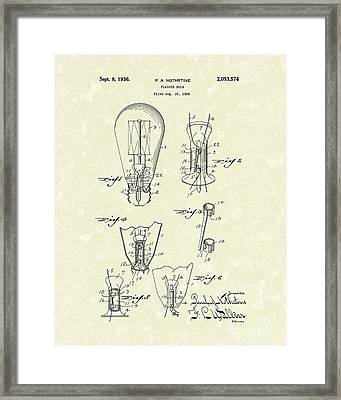 Flasher Bulb 1936 Patent Art Framed Print