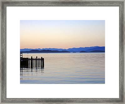 Flathead Lake At Dusk Framed Print by Robert Meyers-Lussier
