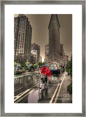 Flatiron In The Rain Framed Print by David Bearden