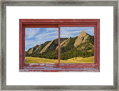 Flatirons Boulder Colorado Red Barn Picture Window Frame Photos  Framed Print by James BO  Insogna