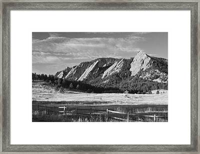 Flatirons From Chautauqua Park Bw Framed Print