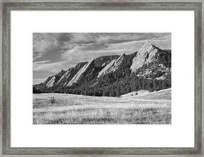 Flatirons With Golden Grass Boulder Colorado Black And White Framed Print by James BO  Insogna