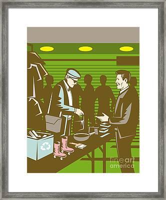 Flea Market Selling Trading Retro Framed Print by Aloysius Patrimonio