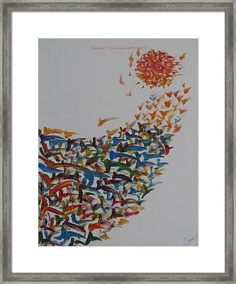 Framed Print featuring the painting Fleet Of Birds by Sonali Gangane