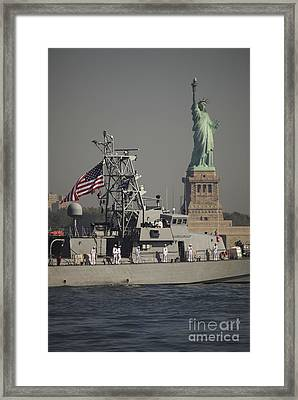 Fleet Week Vessels Pass By The Statue Framed Print