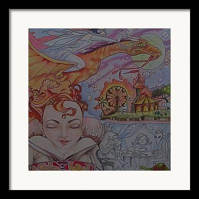 Dragon Circus Alien Moon Framed Prints