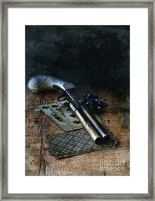 Flint Lock Pistol And Playing Cards Framed Print