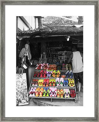 Framed Print featuring the photograph Flip Flops Anyone by Victoria Lakes