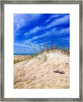 Flip Flops In The Sand Framed Print