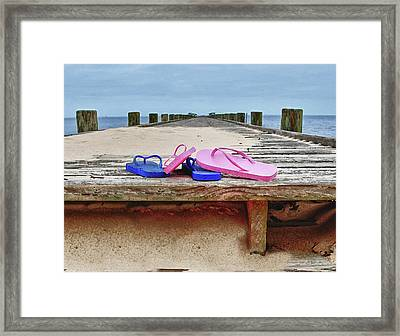 Flip Flops On The Dock Framed Print