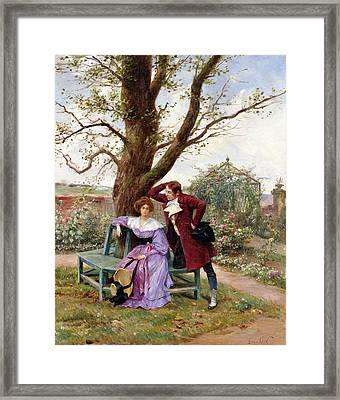 Flirtation Framed Print by Georges Jules Auguste Cain