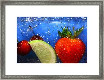 Floating Fruit Framed Print by Paula Brown