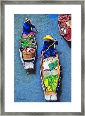 Floating Market Framed Print by George Rossidis