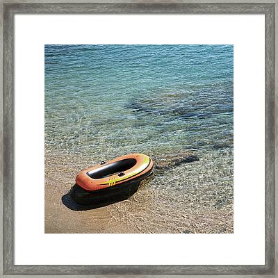 Floating Raft At Sea Framed Print