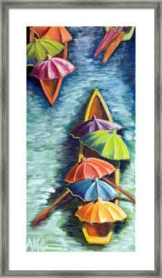 Framed Print featuring the painting Floating Umbrellas by AnneKarin Glass