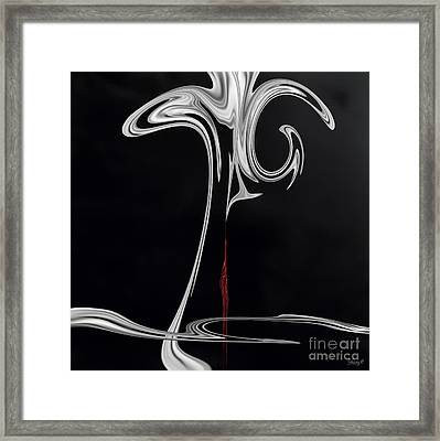 Framed Print featuring the digital art Floating With Red Flow 2 by Johnny Hildingsson