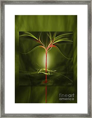 Floating With Red Flow 9 Green Framed Print