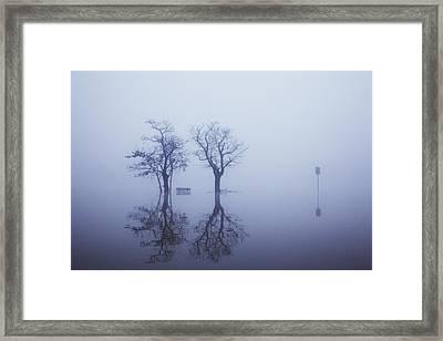 Flood Water At River Rhine Framed Print