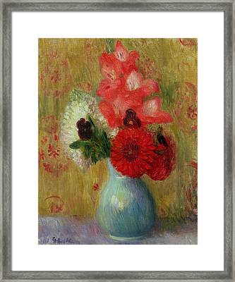 Floral Arrangement In Green Vase Framed Print