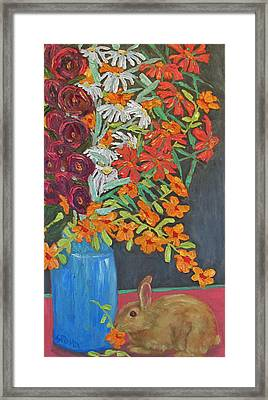 Framed Print featuring the painting Floral Bouquet And Bunny by Susan  Spohn