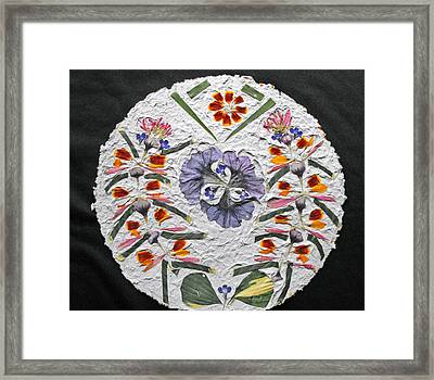 Floral Collage On Handmade Paper No. 1985 Framed Print by Mircea Veleanu
