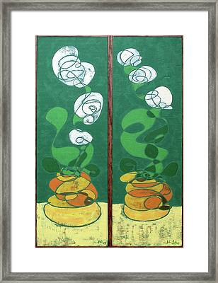 Framed Print featuring the painting Floral Diptych In Green And Orange by John Gibbs