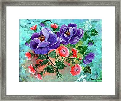Framed Print featuring the painting Floral Frenzy by Fram Cama