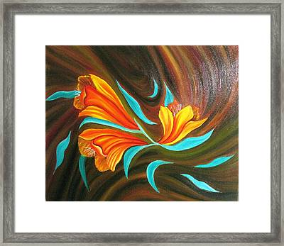 Floral Friendship-abstract Painting Framed Print by Rejeena Niaz
