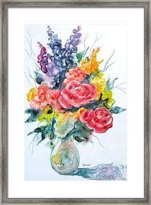 Floral Fun With Yupo Framed Print by Marsha Elliott