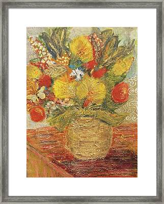 Floral In Vase With A Bow Framed Print by Anne-Elizabeth Whiteway