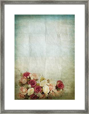 Floral Pattern On Old Paper Framed Print by Setsiri Silapasuwanchai