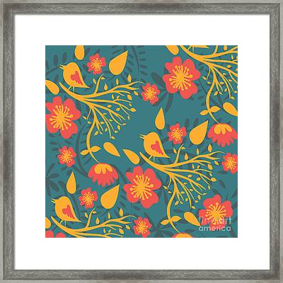 Floral Pattern With Birds Framed Print