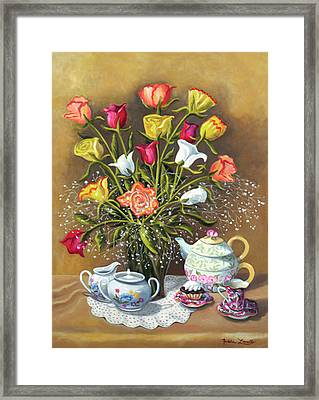 Floral With China And Ceramics Framed Print