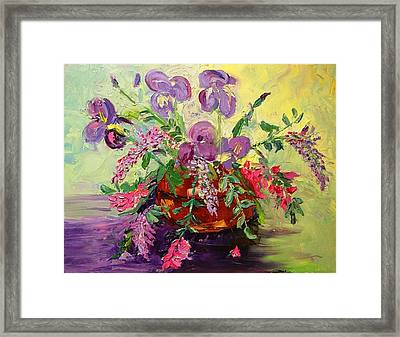 Framed Print featuring the painting Floral With Knives by Carol Berning