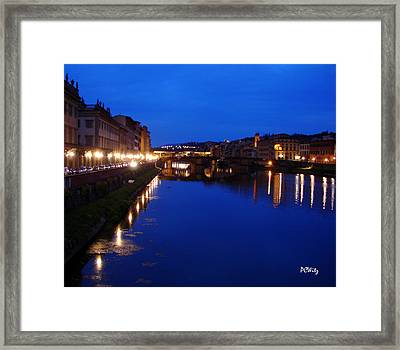 Framed Print featuring the photograph Florence Arno River Night by Patrick Witz