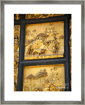Florence Italy - Baptistry Doors Framed Print by Gregory Dyer