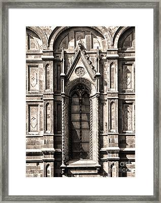 Florence Italy - Duomo Stained Glass - 02 - Sepia Framed Print by Gregory Dyer