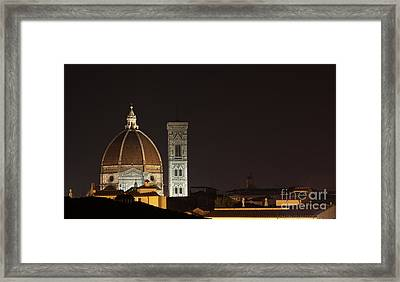Florence Skyline At Night Framed Print by Chris Hill