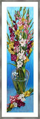 Framed Print featuring the painting Floretta's Gladiolus by Nancy Tilles