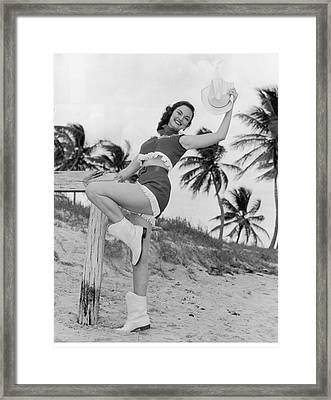 Florida Cow Girl Framed Print by Archive Photos