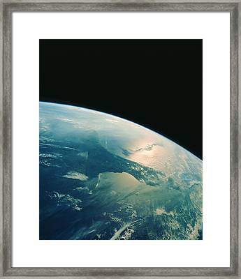 Florida Peninsula From Shuttle Framed Print by Nasa