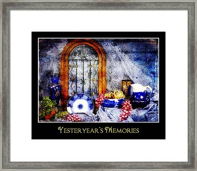 Flow Blue Dishes Framed Print by Trudy Wilkerson