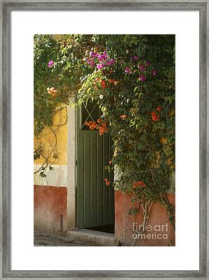 Framed Print featuring the photograph Flower Bedecked Doorway Mineral De Pozos Mexico by John  Mitchell